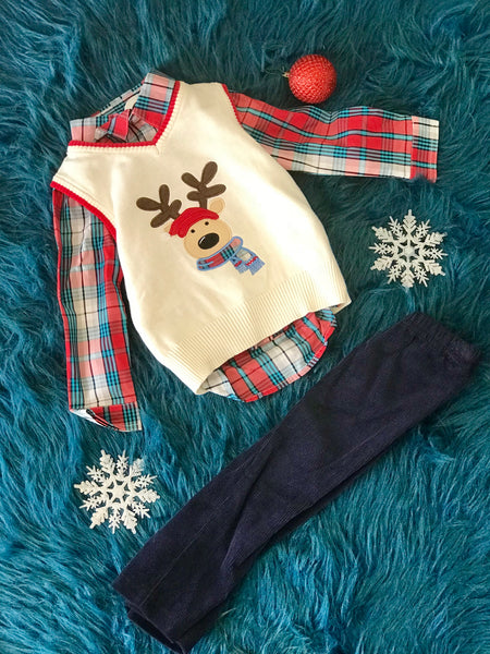 Bonnie Jean Boys Reindeer Sweater Pant Set CH - JEN'S KIDS BOUTIQUE