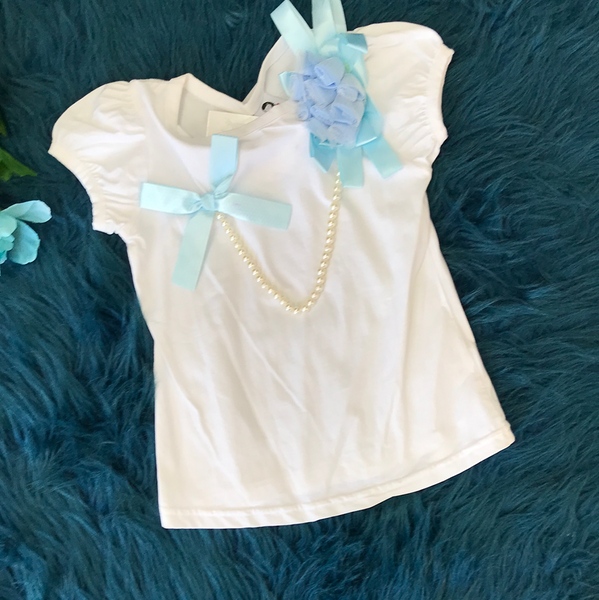 Spring White Shirt w/ Blue Bows & Pearls ECL - JEN'S KIDS BOUTIQUE
