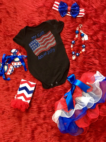 Summer 4th Of July My First 4th Of July Onesie Black W/Flag - JEN'S KIDS BOUTIQUE