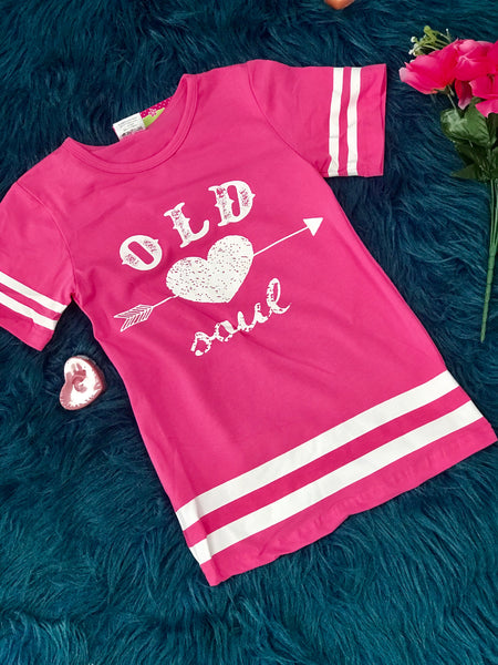 Valentine Womens Pink And White Forever Young Short Sleeve Shirt - JEN'S KIDS BOUTIQUE