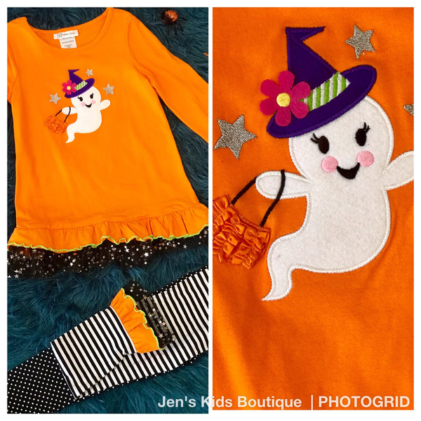 Bonnie Jean friendly ghost tunic set. H - JEN'S KIDS BOUTIQUE