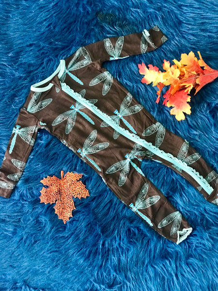 New Fall Kickee Pants Coverall With Zipper (Giant DragonFly) - JEN'S KIDS BOUTIQUE