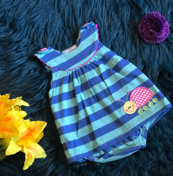 Summer Three Sisters Blue Stripped Ladybug Romper - JEN'S KIDS BOUTIQUE