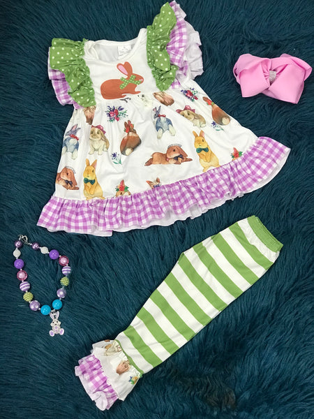 Spring Easter Vintage Bunny Ruffle Pants Set - JEN'S KIDS BOUTIQUE