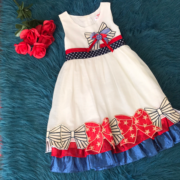 White Dress w/ Red White & Blue Bows Lining CLS