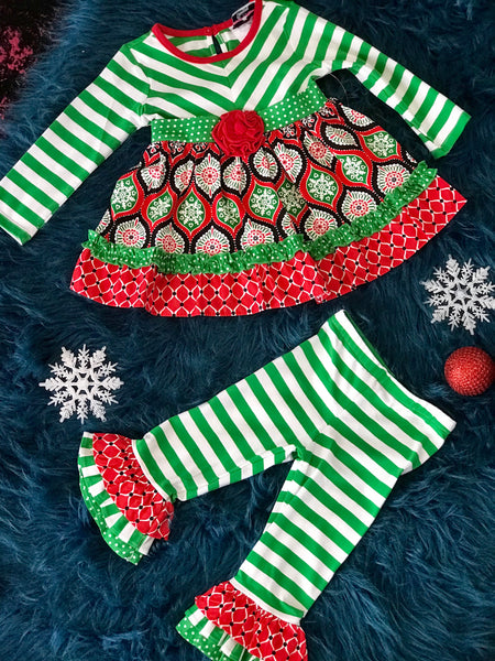 2018 Christmas Counting Daisy Green Stripped With Red Mixed Print - JEN'S KIDS BOUTIQUE
