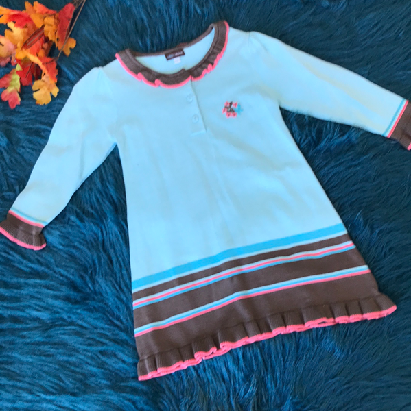 Rabbit Moon Blue Pink & Brown Sweater Dress  w/ Flowers - JEN'S KIDS BOUTIQUE