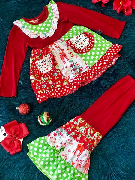 Adorables Christmas I Love Santa Multi Ruffle & Deer Multi Girls Pant Set - JEN'S KIDS BOUTIQUE