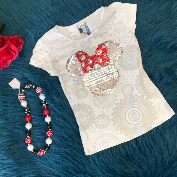 Spring Disney Sequined Minnie Mouse T-Shirt