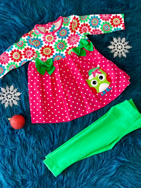 Molly & Millie Christmas Holiday Infant Owl Set - JEN'S KIDS BOUTIQUE