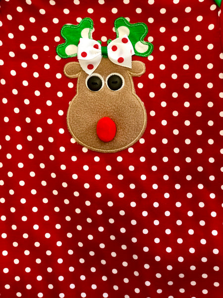 Peaches N Cream Christmas Holiday Red Polka Dot Reindeer Infant Romper - JEN'S KIDS BOUTIQUE