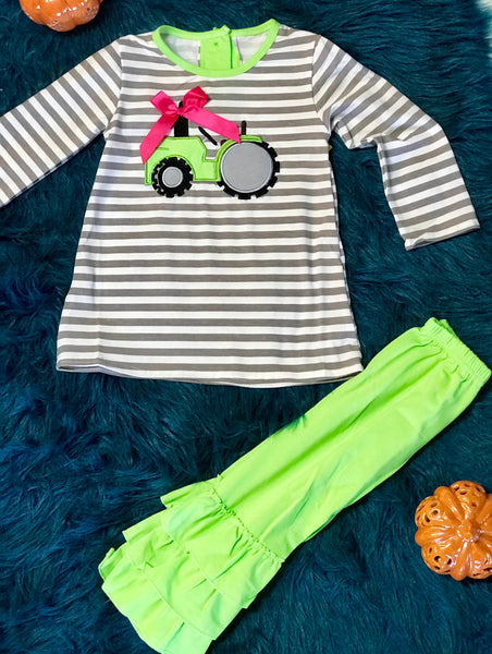 2018 Fall My Little Green Tractor Ruffle Girls Pant Set - JEN'S KIDS BOUTIQUE