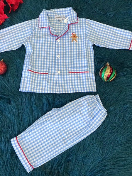 New Christmas Sweet Dreams Cotton Blue Plaid Ginger Bread Pajamas - JEN'S KIDS BOUTIQUE