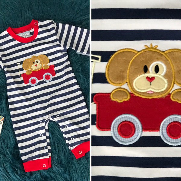 Three Sisters Fall Puppy Ride Fun Applique Boys Romper - JEN'S KIDS BOUTIQUE