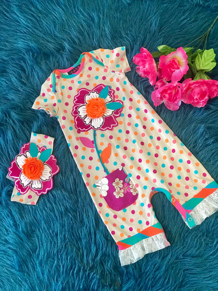 2019 Summer Roki & Zoi By ZaZa Couture Flower Expo Infant Romper - JEN'S KIDS BOUTIQUE
