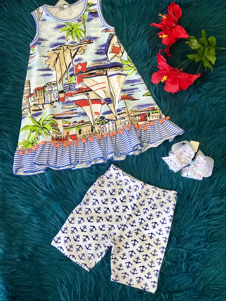 Summer Sassy Me Sail Boat Fun Pom Pom Dress Capri Set - JEN'S KIDS BOUTIQUE