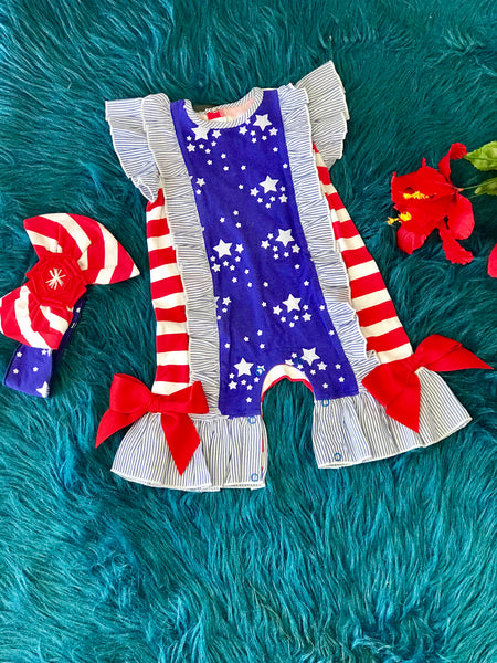 2019 Summer Infant Sassy Me Stars & Stripes Romper - JEN'S KIDS BOUTIQUE