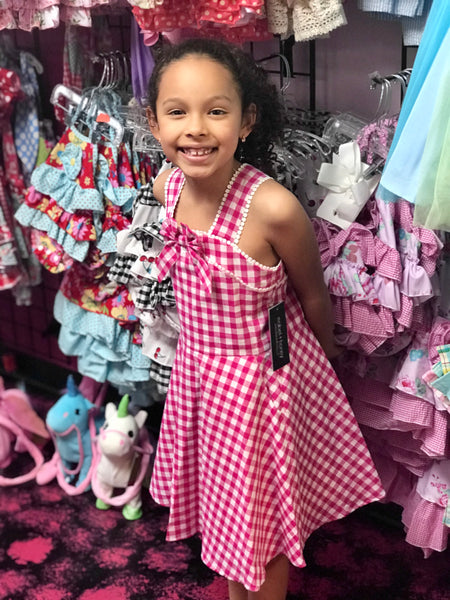 2019 Spring & Summer Mable & Honey Girls Hot Gingham Pink Lemonade Stand Dress - JEN'S KIDS BOUTIQUE