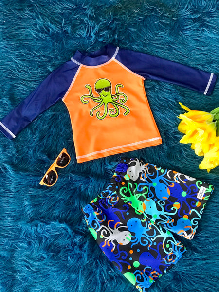 Flap Happy Boy Octopus Two Piece Swim Suit Set Rash Gaurd - JEN'S KIDS BOUTIQUE