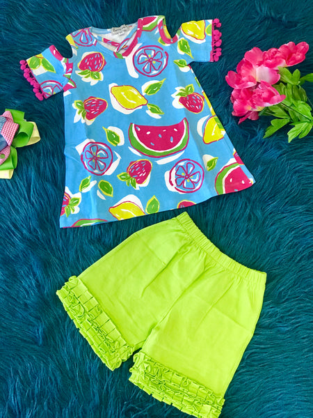 2019 Summer Sassy Me Sweet Fruit Cold Shoulder Capri Set - JEN'S KIDS BOUTIQUE