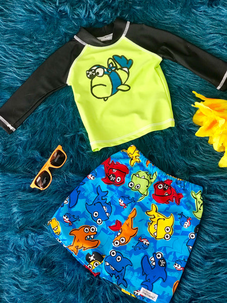 Flap Happy Boy Fish Two Piece Swim Suit Set Rash Gaurd - JEN'S KIDS BOUTIQUE