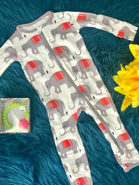 Summer Kickee Pants Natural Indian Elephant Coverall - JEN'S KIDS BOUTIQUE