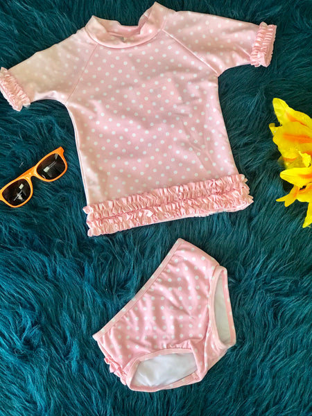 Ruffle Butts Mint Infant Summer Pink Polka Dot Ruffled Rash Gaurd  Bikini Swimsuit S - JEN'S KIDS BOUTIQUE