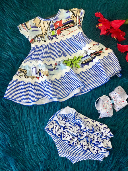 2019 Summer Sassy Me Sail Boat Fun Bloomer Set - JEN'S KIDS BOUTIQUE