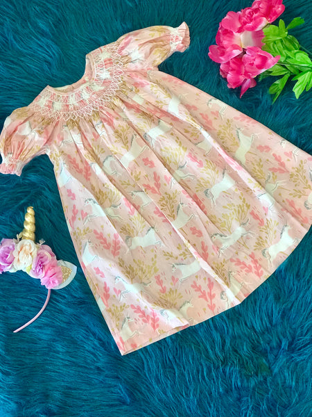 2019 Summer Love Me Magical Pink Unicorn Smocked Dress - JEN'S KIDS BOUTIQUE