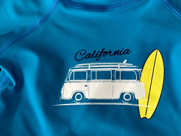 Summer Rugged Butts Boys Blue California Surf Rash Guard Swimsuit Top - JEN'S KIDS BOUTIQUE