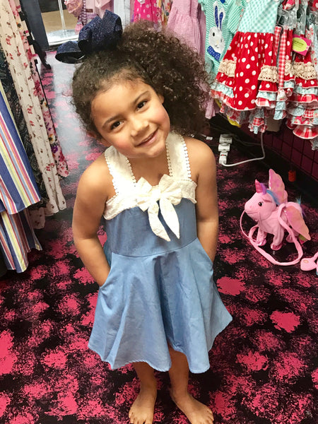 2019 Spring & Summer Mable & Honey Girls Denim Pinky Promise Dress - JEN'S KIDS BOUTIQUE