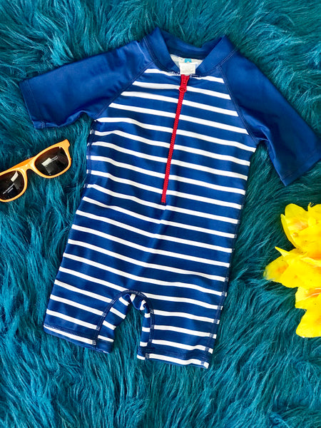 Rugged Butts Navy Blue Stripped One Piece Rash Guard Swimsuit - JEN'S KIDS BOUTIQUE