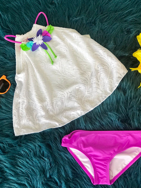 2019 Summer Girls Love U Lots Halter Two Piece White Flower Swim Suit - JEN'S KIDS BOUTIQUE