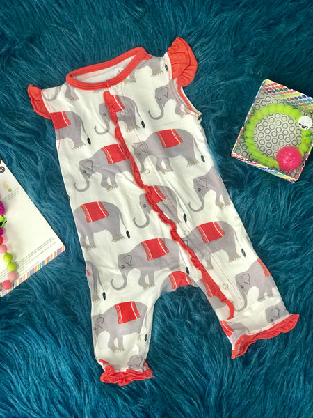 2019 Summer Kickee Pants Natural Indian ElephantRuffle Tank Romper - JEN'S KIDS BOUTIQUE