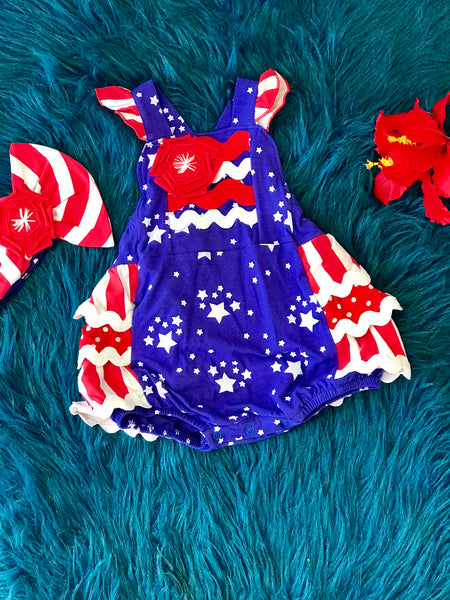 2019 Summer Sassy Me Stars & Stripes Rubble Infant Bubble - JEN'S KIDS BOUTIQUE