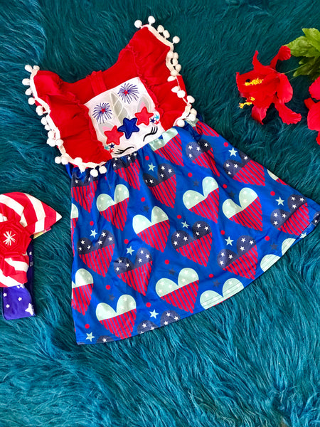 2019 Summer Girls Patriotic Angle Sleeve Unicorn Dress - JEN'S KIDS BOUTIQUE