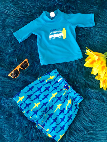 2019 Rugged Butts Boys Splashing Sharks Swim Trunks - JEN'S KIDS BOUTIQUE