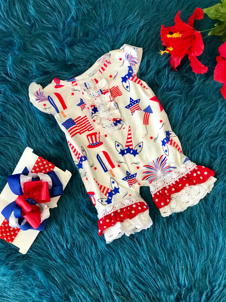 2019 Summer Patriotic Infant White Unicorn Ruffle Romper - JEN'S KIDS BOUTIQUE