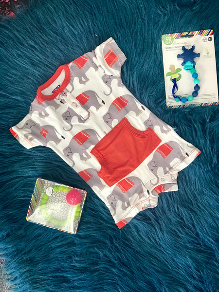 2019 Summer Kickee Pants Natural Indian Elephant Boys Kangaroo Romper - JEN'S KIDS BOUTIQUE