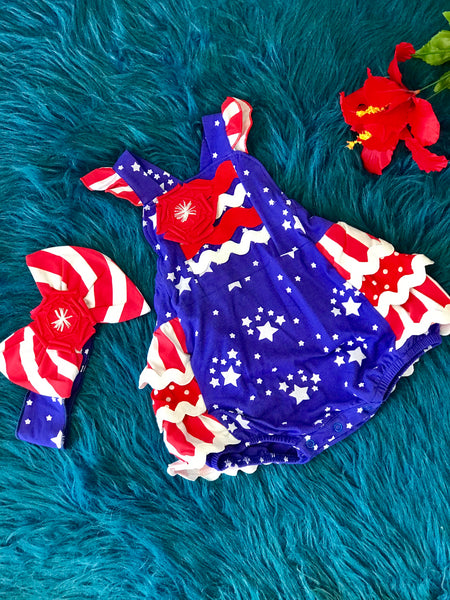 Summer Sassy Me Stars & Stripes Rubble Infant Bubble - JEN'S KIDS BOUTIQUE