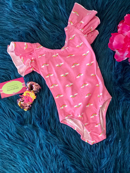 Summer Mila Rose Sweet Pink Ruffle Rainbow Dance Leotards - JEN'S KIDS BOUTIQUE