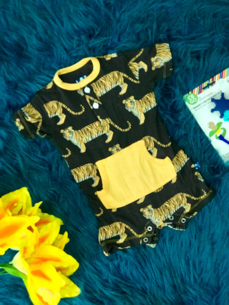 2019 Summer Kickee Pants Zebra Tiger Boys Kangaroo Romper - JEN'S KIDS BOUTIQUE