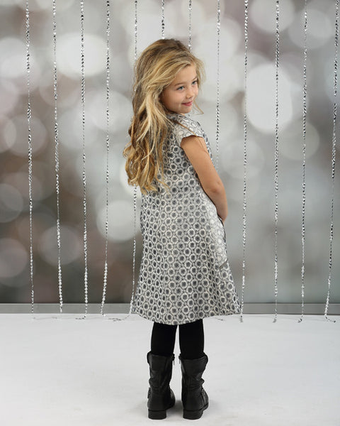 Isobella & Chloe Silver Bells A Line Dress CH - JEN'S KIDS BOUTIQUE