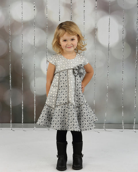 Isobella & Chloe Silver Bells Empire Waist Dress - JEN'S KIDS BOUTIQUE