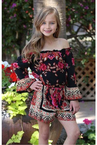 Spring Kids Black Rose Print Romper - JEN'S KIDS BOUTIQUE