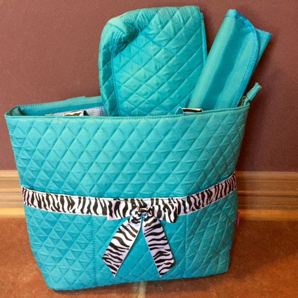 Princess Adorable Turquoise  Zebra Diaper Bag. - JEN'S KIDS BOUTIQUE