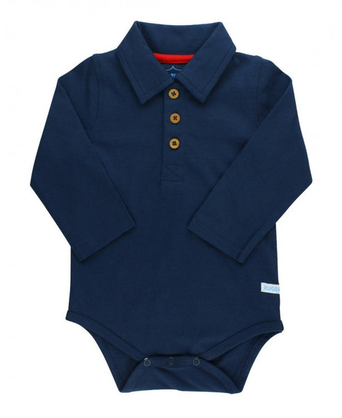 Rugged Butts 2017 Fall Boys Navy Long Sleeve Polo Bodysuit - JEN'S KIDS BOUTIQUE