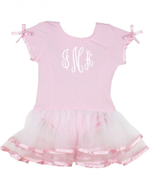 Ruffle Butts Spring Dance Short Sleeve Pink & White Tutu Leotard - JEN'S KIDS BOUTIQUE