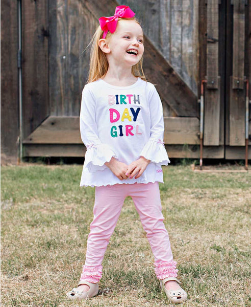 Ruffle Butts 2017 Fall Girls Applique Birthday Girl Belle Top - JEN'S KIDS BOUTIQUE