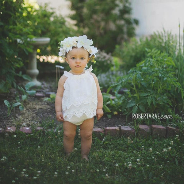 2018 Spring Deluxe Floral Headpiece Ivory - JEN'S KIDS BOUTIQUE